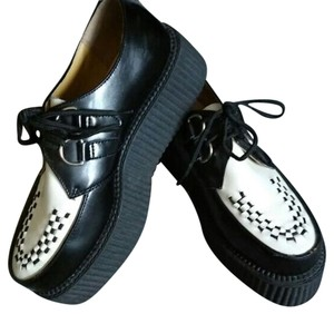 T.U.K Creepers Black and White Platforms