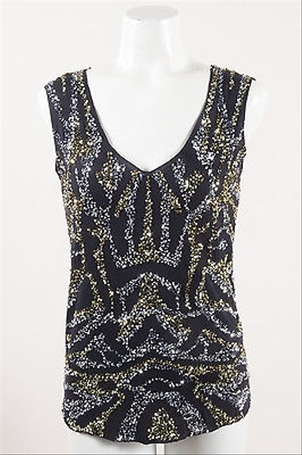 2e4c48f6c37c2 Gryphon Black Gold Silver Knit Sequin Embellished Tank Top durable service