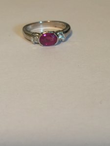 14kt White Gold Ruby Diamond Engagement Ring