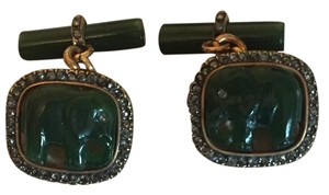 Other Victorian Russian Jade Diamond Elephant Cufflinks