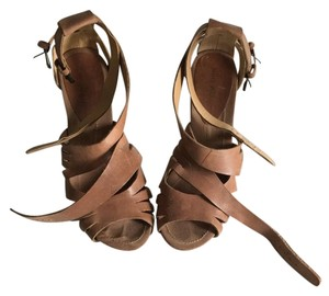Nine West Leather Leather Wedge Brown Sandals