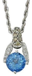 LeVian LeVian 14k Gold Blue Topaz Diamond Pendant Rope Chain Necklace