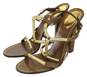 Gucci Anita Metallic Leather Suede Brown Sandals