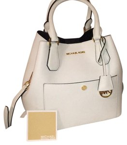 Michael Kors Satchel in White w/Gold Hardware