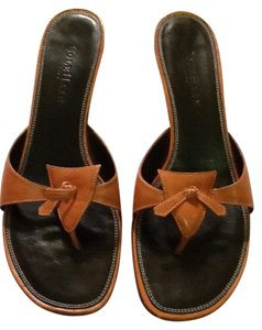 Cole Haan Leather Made In Brazil Orange black Sandals