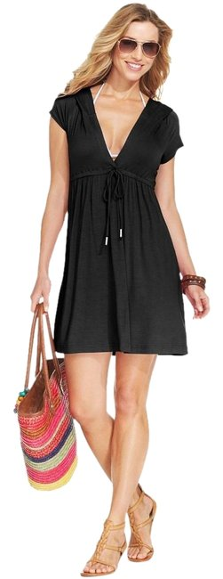 Item - Black Short Sleeve V Neck Hooded Swimsuit S Cover-up/Sarong Size 4 (S)