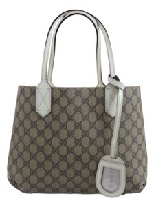 Gucci Leather 372613 Gg Tote in White/Brown