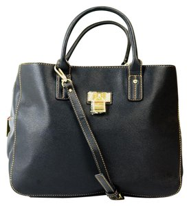 Tommy Hilfiger Contrast Stitching Lock Stud Detailing Tote in Black