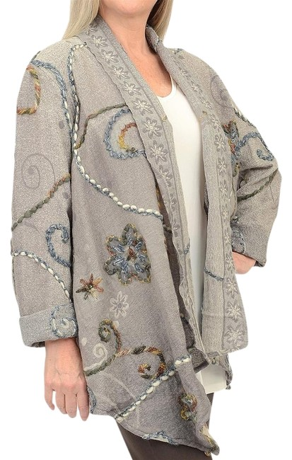 Item - Gray L Heavily Embroidered Art To Wear Waterfall Jacket Size 14 (L)