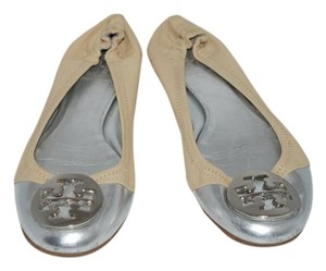 Tory Burch Embossed Leather Elastic Reva Beige Flats
