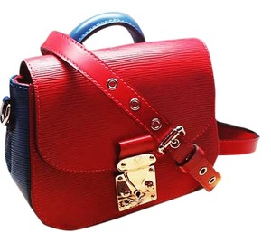 Louis Vuitton Epi Leather Satchel in Red and Indigo Blue