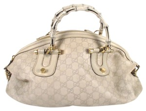 Gucci Bamboo Monogram Gold Tote Logo Satchel in Beige