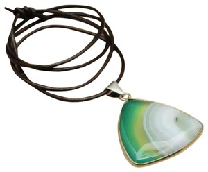 Madagascar Agate Gemstone Pendant on Leather Cord Necklace