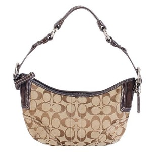 Coach Leather Suede Signature Hobo Bag