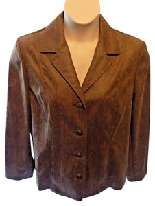 Alfred Dunner Career Solid Stretchy Classic Brown Blazer