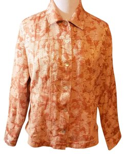 Chico's Casual Floral Fitted Rust Brown Jacket