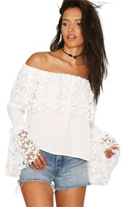 Nasty Gal Lace Top White
