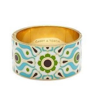 Kate Spade Florence Broadhurst Carry A Torch Blue Enamel Hinged Idiom Bangle