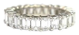 Fine,Emerald,Cut,Diamond,Shared,Prong,Eternity,Band,Ring,White,Gold,4.40ct,Sz5