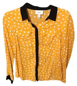 Ann Taylor LOFT Button Down Shirt Yellow and black