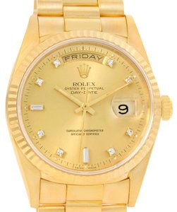 Rolex Rolex President Day Date Mens 18k Yellow Gold Diamond Watch 18238