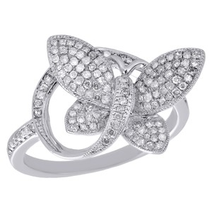 Other 10K White Gold Diamond Engagement Ring Butterfly Fashion Style - item med img