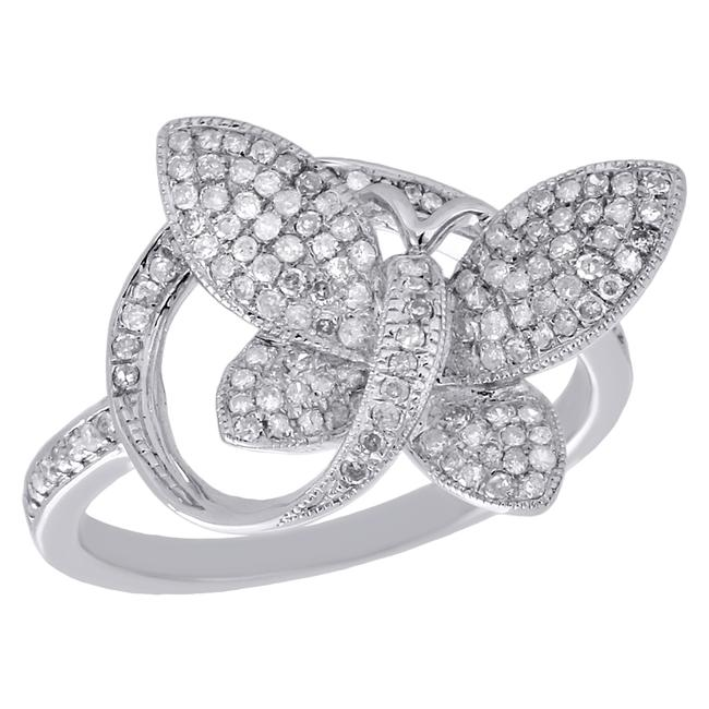 White Gold 10k Diamond Engagement Butterfly Fashion Style Ring White Gold 10k Diamond Engagement Butterfly Fashion Style Ring Image 1