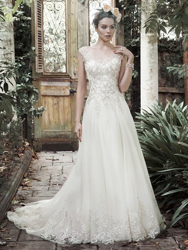 Maggie Sottero Ivory Pewter Lace Tulle Barbie Modern Wedding Dress Size 10 M