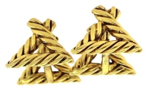 Hermès Hermes Paris 18k Yellow Gold Triangle Rope Cufflinks