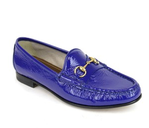 Gucci Soft Patent Leather Horsebit Deep Zaffiro / Blue Flats