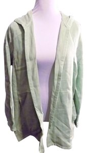 Ellen Tracy Lightweight Casual Linen Solid Hooded Green Jacket