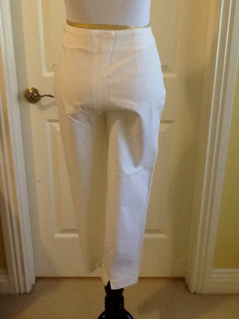Piazza Sempione Lycra Spandex Made In Italy Dry Clean Capri/Cropped Pants White Image 6
