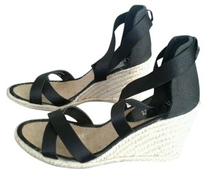 Lauren Ralph Lauren Satin Stretchy Wedge Black Wedges