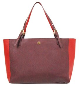 Tory Burch Tb Two Tone York Tote in Burgundy/Red