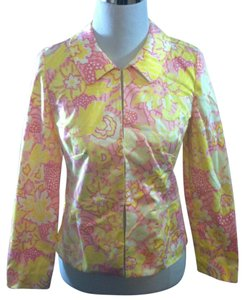 Tibi Lightweight Casual Floral Pink, Yellow and White Jacket