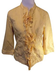 Chico's Lightweight Casual Spring Linen Yellow Jacket