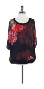 Trina Turk Floral Print Short Sleeve Top Multi