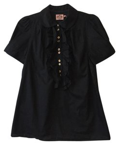 Juicy Couture Ruffle Gold Hardware Preppy Button Down Shirt Black