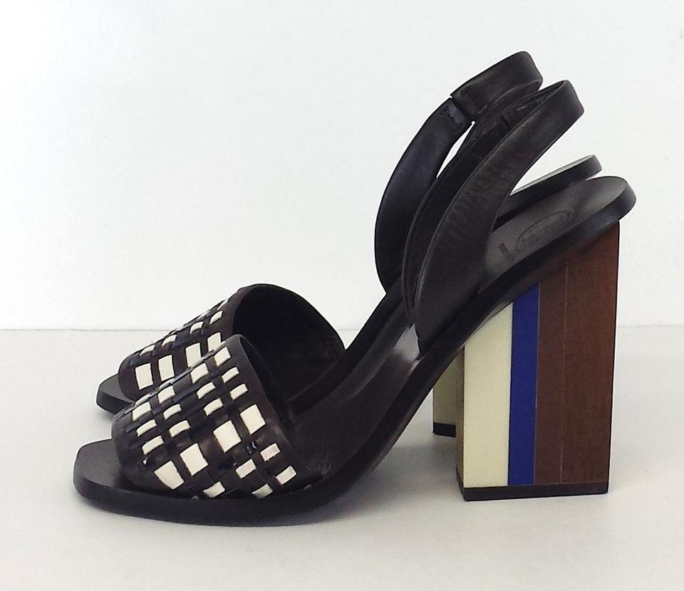 Tory Burch Brown Woven Color Block Heels Sandals Size Us 7