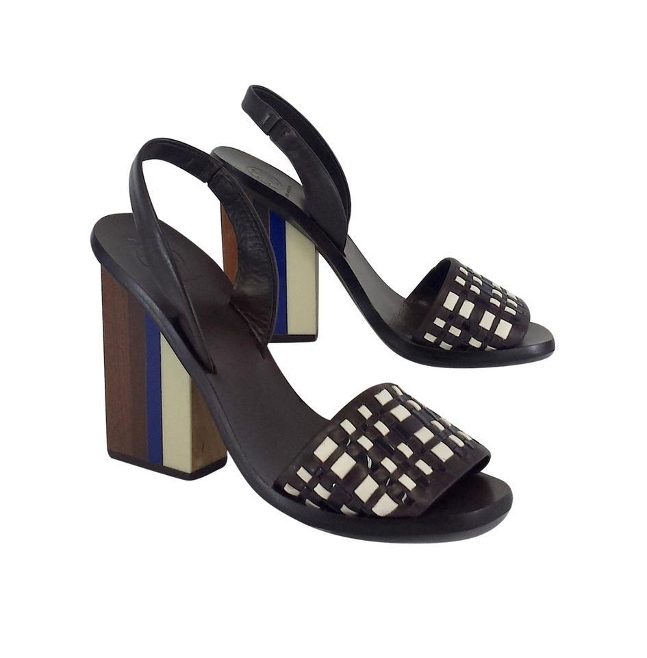 5f8851d44 Tory Burch Brown Woven Color Block Heels Sandals Size US 7 Regular ...