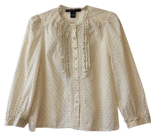 Marc Jacobs Ruffle Preppy Button Down Shirt Cream and teal