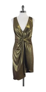 Halston short dress Metallic Gold Faux Wrap on Tradesy