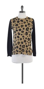 Rebecca Taylor Tan Grey Leopard Print Wool Sweater