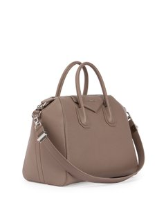 Givenchy Antigona Saint Laurent Leather Barneys Satchel in Taupe Grey Begie