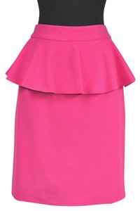 Alice + Olivia Peplum Pencil Zip Skirt Pink