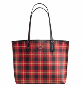 Coach 36875 36876 City Top Zip Tote in red plaid