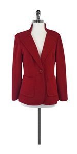 St. John Red Knit Single Button Jacket