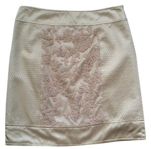 BCBGMAXAZRIA Silk Blend Lace Insert Mini Skirt Blush