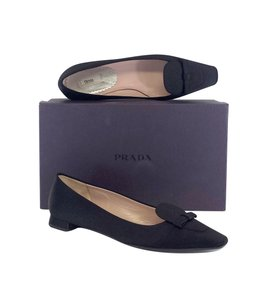 Prada Black Satin Pointed Flats
