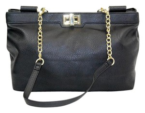 Olivia + Joy Faux Leather Gold Hardware Tote in Black